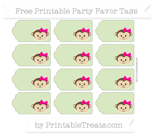 Free Pastel Light Green Girl Monkey Party Favor Tags