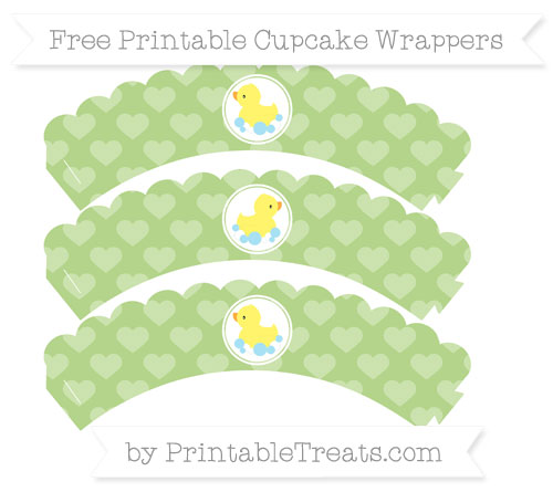 Free Pastel Light Green Heart Pattern Baby Duck Scalloped Cupcake Wrappers