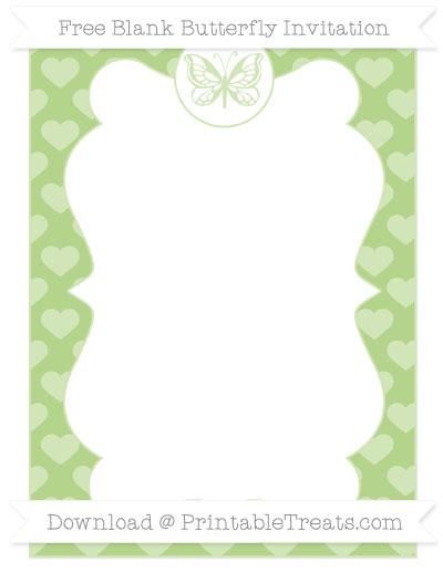 Free Pastel Light Green Heart Pattern Blank Butterfly Invitation