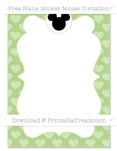 Free Pastel Light Green Heart Pattern Blank Mickey Mouse Invitation