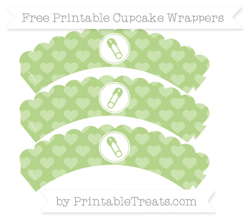 Free Pastel Light Green Heart Pattern Diaper Pin Scalloped Cupcake Wrappers