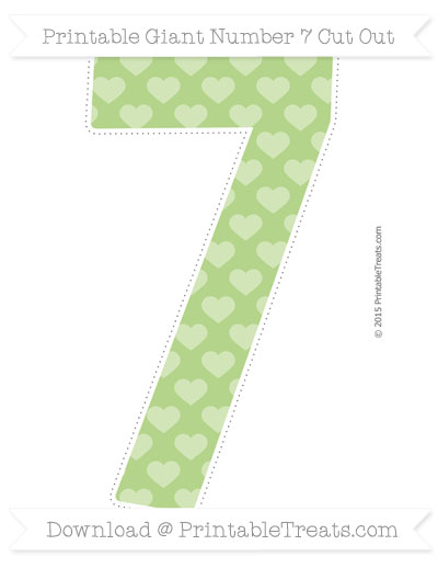 Free Pastel Light Green Heart Pattern Giant Number 7 Cut Out