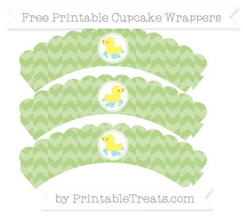 Free Pastel Light Green Herringbone Pattern Baby Duck Scalloped Cupcake Wrappers