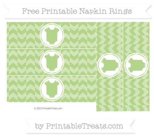 Free Pastel Light Green Herringbone Pattern Baby Onesie Napkin Rings