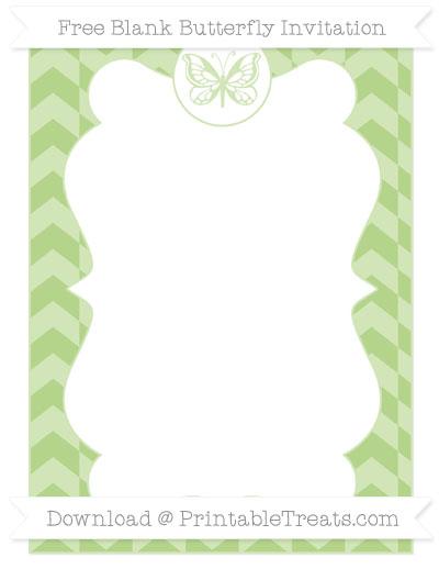 Free Pastel Light Green Herringbone Pattern Blank Butterfly Invitation