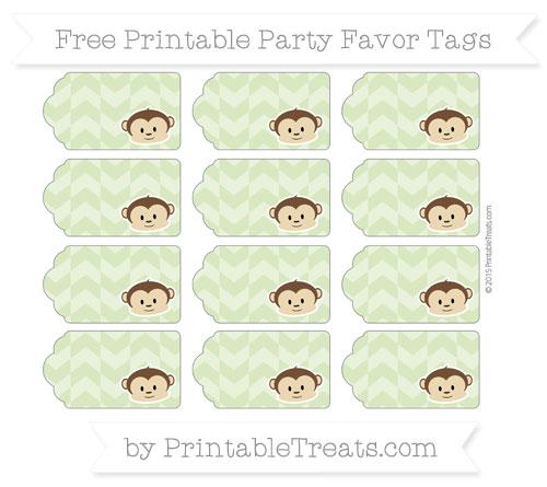 Free Pastel Light Green Herringbone Pattern Boy Monkey Party Favor Tags