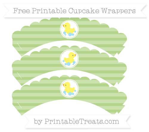 Free Pastel Light Green Horizontal Striped Baby Duck Scalloped Cupcake Wrappers