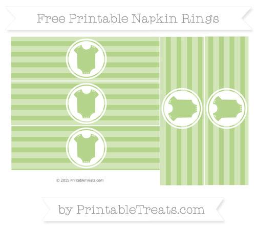 Free Pastel Light Green Horizontal Striped Baby Onesie Napkin Rings