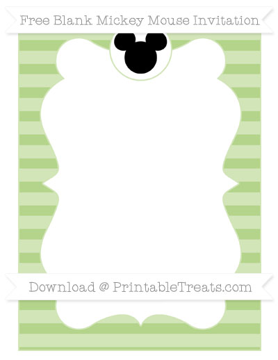 Free Pastel Light Green Horizontal Striped Blank Mickey Mouse Invitation