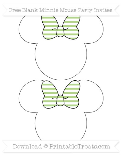 Free Pastel Light Green Horizontal Striped Blank Minnie Mouse Party Invites