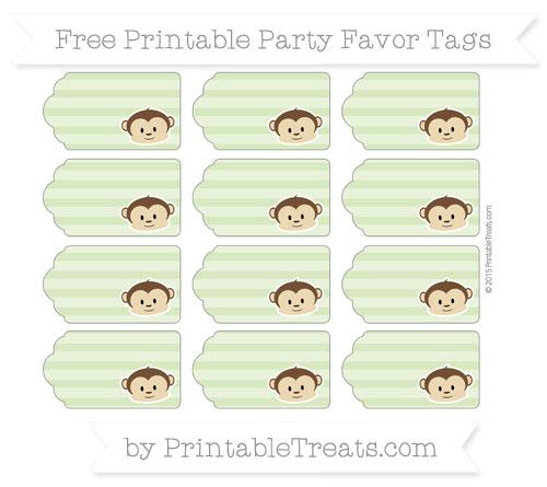 Free Pastel Light Green Horizontal Striped Boy Monkey Party Favor Tags