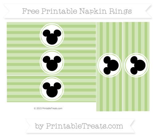 Free Pastel Light Green Horizontal Striped Mickey Mouse Napkin Rings