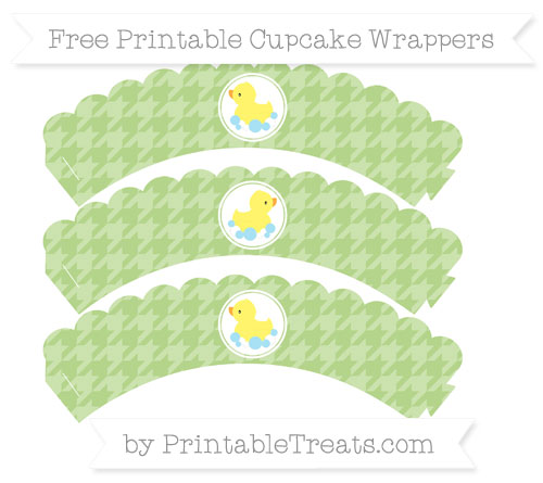 Free Pastel Light Green Houndstooth Pattern Baby Duck Scalloped Cupcake Wrappers