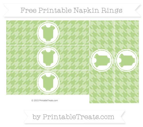 Free Pastel Light Green Houndstooth Pattern Baby Onesie Napkin Rings