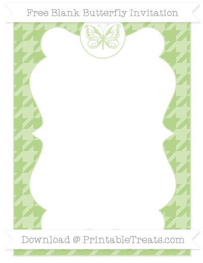 Free Pastel Light Green Houndstooth Pattern Blank Butterfly Invitation