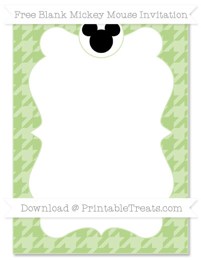 Free Pastel Light Green Houndstooth Pattern Blank Mickey Mouse Invitation