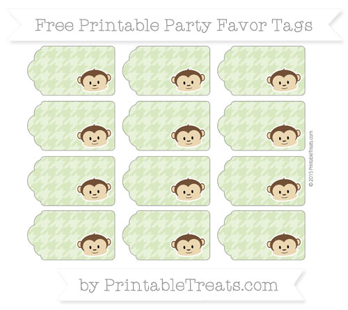 Free Pastel Light Green Houndstooth Pattern Boy Monkey Party Favor Tags