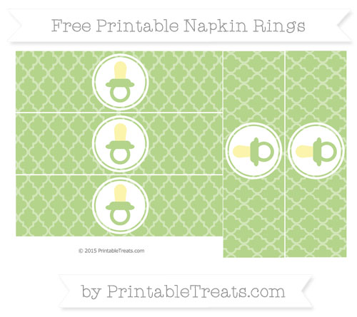 Free Pastel Light Green Moroccan Tile Baby Pacifier Napkin Rings