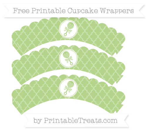 Free Pastel Light Green Moroccan Tile Baby Rattle Scalloped Cupcake Wrappers