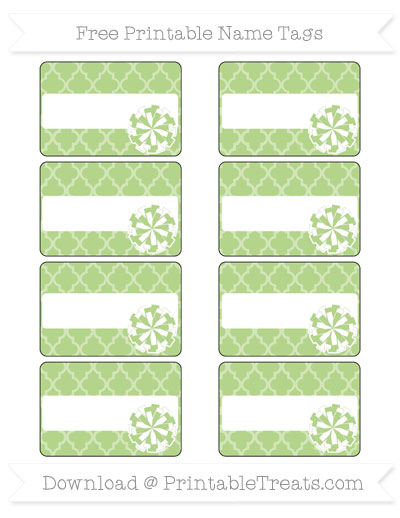 Free Pastel Light Green Moroccan Tile Cheer Pom Pom Tags
