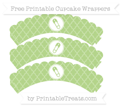 Free Pastel Light Green Moroccan Tile Diaper Pin Scalloped Cupcake Wrappers