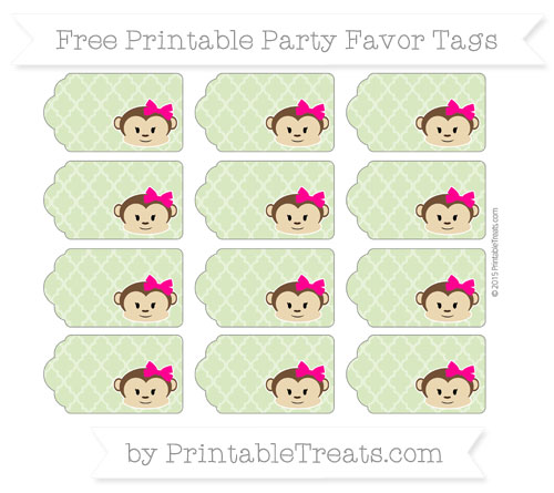 Free Pastel Light Green Moroccan Tile Girl Monkey Party Favor Tags