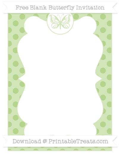 Free Pastel Light Green Polka Dot Blank Butterfly Invitation