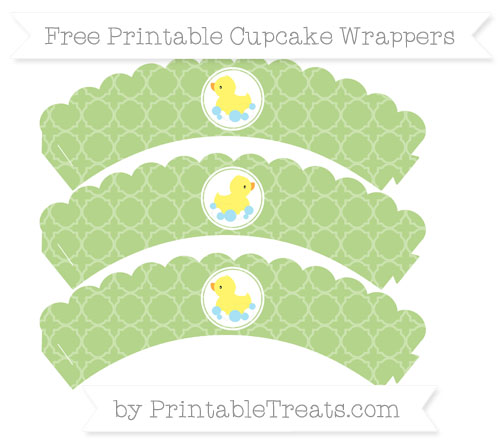 Free Pastel Light Green Quatrefoil Pattern Baby Duck Scalloped Cupcake Wrappers