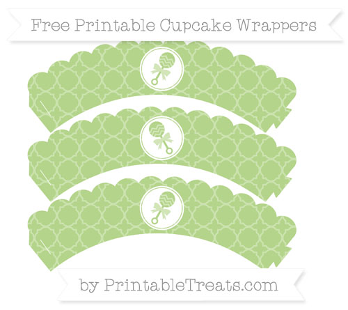 Free Pastel Light Green Quatrefoil Pattern Baby Rattle Scalloped Cupcake Wrappers