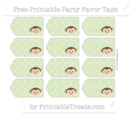 Free Pastel Light Green Quatrefoil Pattern Boy Monkey Party Favor Tags