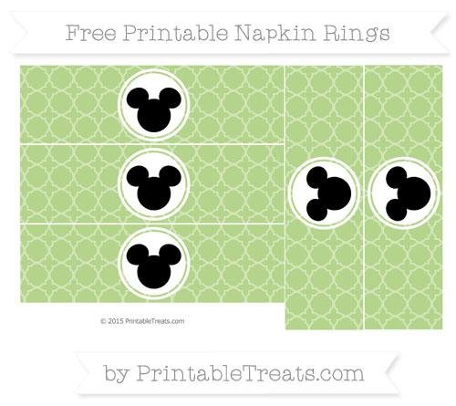 Free Pastel Light Green Quatrefoil Pattern Mickey Mouse Napkin Rings