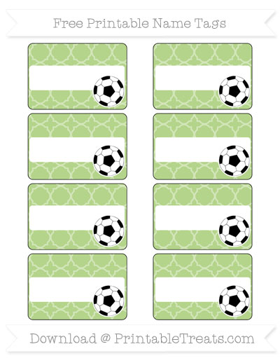 Free Pastel Light Green Quatrefoil Pattern Soccer Name Tags