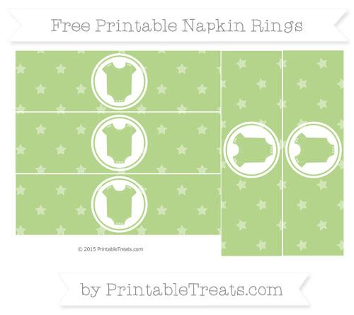 Free Pastel Light Green Star Pattern Baby Onesie Napkin Rings