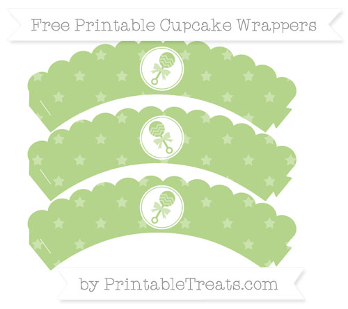 Free Pastel Light Green Star Pattern Baby Rattle Scalloped Cupcake Wrappers