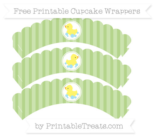 Free Pastel Light Green Striped Baby Duck Scalloped Cupcake Wrappers
