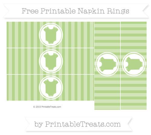 Free Pastel Light Green Striped Baby Onesie Napkin Rings