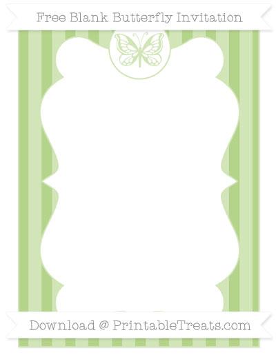Free Pastel Light Green Striped Blank Butterfly Invitation