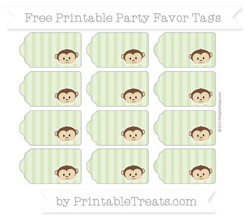 Free Pastel Light Green Striped Boy Monkey Party Favor Tags