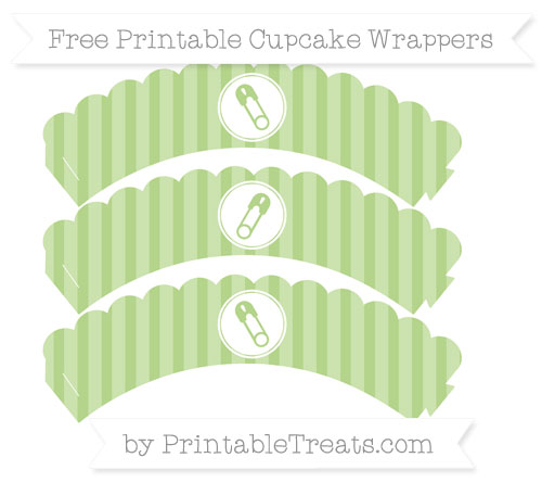Free Pastel Light Green Striped Diaper Pin Scalloped Cupcake Wrappers