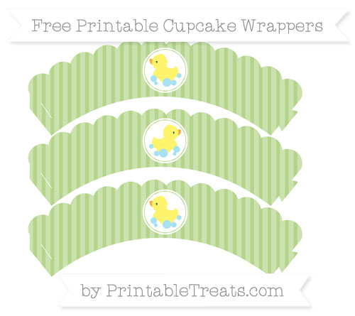 Free Pastel Light Green Thin Striped Pattern Baby Duck Scalloped Cupcake Wrappers