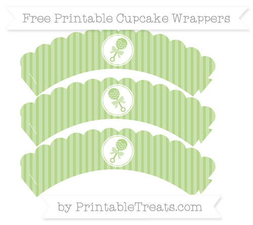 Free Pastel Light Green Thin Striped Pattern Baby Rattle Scalloped Cupcake Wrappers