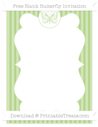 Free Pastel Light Green Thin Striped Pattern Blank Butterfly Invitation