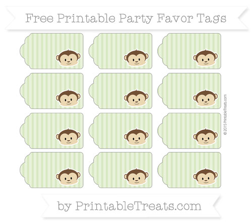 Free Pastel Light Green Thin Striped Pattern Boy Monkey Party Favor Tags