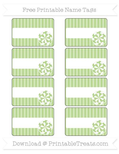 Free Pastel Light Green Thin Striped Pattern Cheer Pom Pom Tags