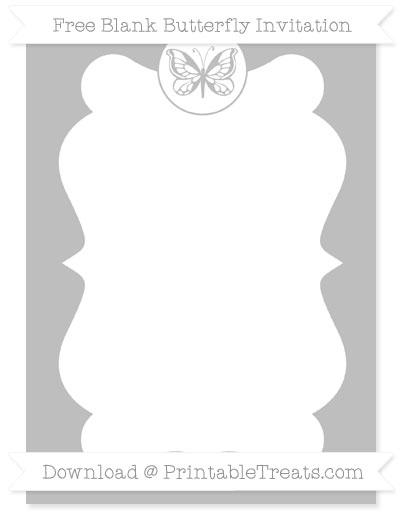 Free Pastel Light Grey Blank Butterfly Invitation
