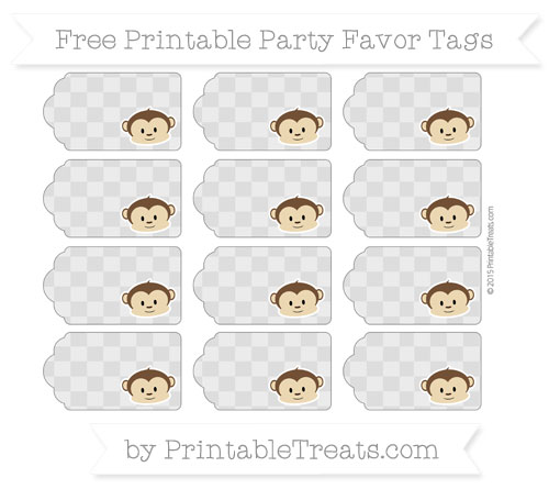 Free Pastel Light Grey Checker Pattern Boy Monkey Party Favor Tags