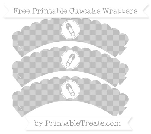 Free Pastel Light Grey Checker Pattern Diaper Pin Scalloped Cupcake Wrappers