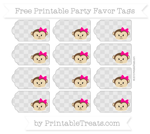 Free Pastel Light Grey Checker Pattern Girl Monkey Party Favor Tags