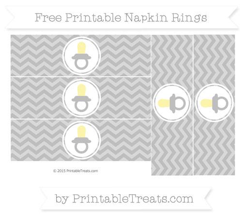 Free Pastel Light Grey Chevron Baby Pacifier Napkin Rings