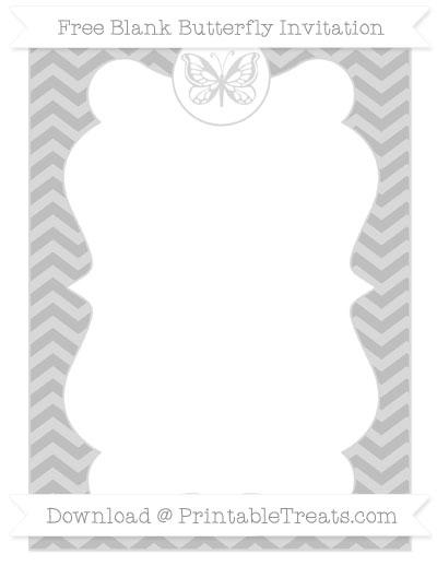 Free Pastel Light Grey Chevron Blank Butterfly Invitation
